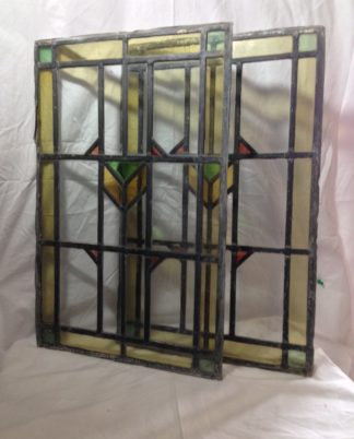 A pair of Vintage Stained Glass window panels