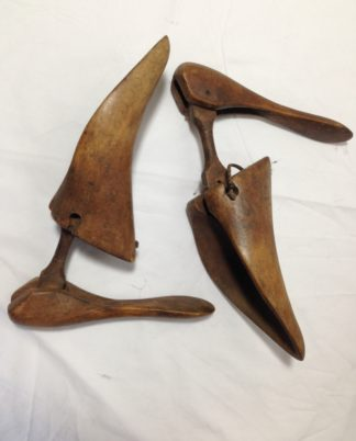 A pair of antique wooden shoe lasts